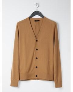 Cashmere V-neck Buttoned Cardigan Brown