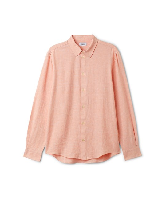 Weekday Lead Linen Shirt Orange