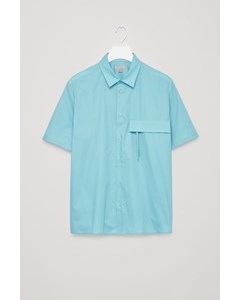 Pocket-front Shirt With Puller  Turquoise