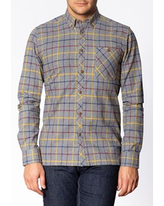 Quarry, Men's Long Sleeve Flannel Shirt With Large Check Pattern In Grey Marl