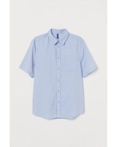 Kortärmad Bomullsskjorta Ljusblå