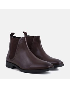 Leather Square Toe Chelsea Boot Brown