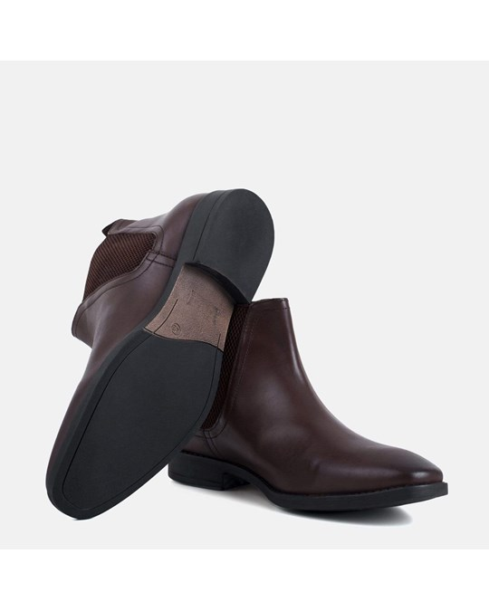 Redfoot Shoes Leather Square Toe Chelsea Boot Brown