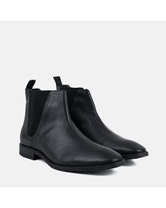 Leather Square Toe Chelsea Boot  Black