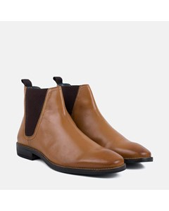 Mens Tan Leather Square Toe Chelsea Boot