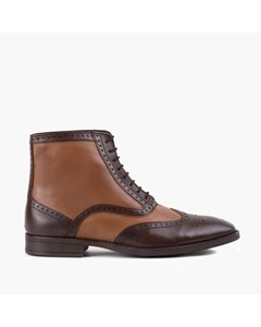 Mens Brown Tan Two Tone Brogue Boot