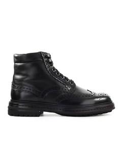 Santoni Black Leather Brogue Chelsea Boot
