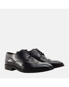 Square Toe Double Wing Brogue Black