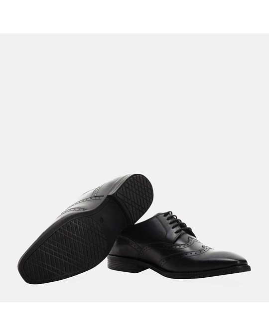 Redfoot Shoes Square Toe Double Wing Brogue Black