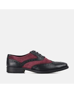 Mens Rf Thompson Black & Bordo  Leather Suede Brogue
