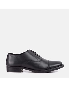 Mens Black Plain Toe Cap Oxford Shoe