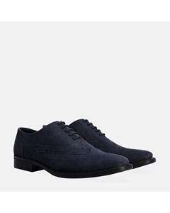 Mens Navy Suede Oxford Brogue Shoe