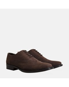 Mens Brown Suede Oxford Brogue Shoe