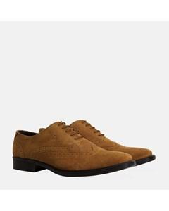 Mens Tan Suede Oxford Brogue Shoe