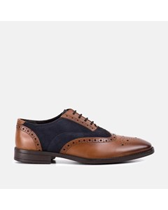 Mens Tan Navy Leather Suede Brogue
