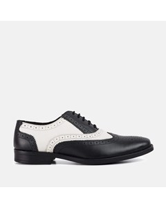 Mens Black & White Oxford Brogue Shoe
