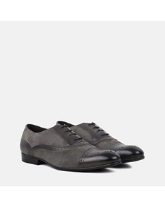 Mens Charcoal Leather Suede Oxford Brogue