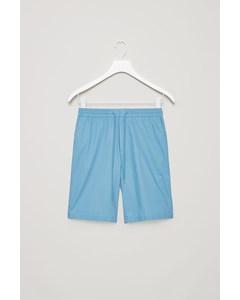 Elastic-waist Poplin Shorts  Azure Blue