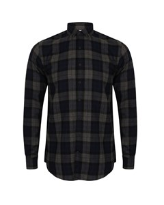 Skinni Fit Mens Brushed Check Casual Long Sleeve Shirt
