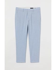 Croppad Kostymbyxa Slim Fit Ljusblå/vit