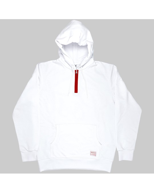 Post Redecades Half Zip Hoodie Athletic Circle - White - Post RE:Decades half zip hoodie Athletic Circle logo White  Half Zip in front with red lining  Post Athletic Circle logo print on back  Woven Post label on front left bottom  Unbrushed french terry fabric