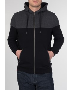 Thames, Men's Cotton Colour Block Hoody With Zip-up Fastening, Drawstrings And Zip Pockets In Black