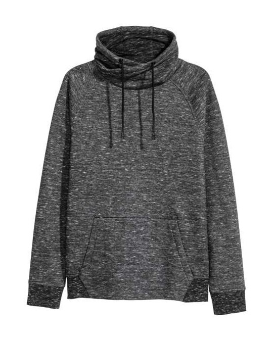 H&M Funnel-collar Sweatshirt Black