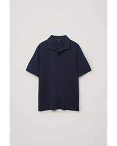 Open Collar Cotton Polo Shirt Navy