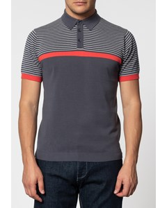 Blake, Shoulder Stripe Knit Polo With Ribbed Hem In Charcoal