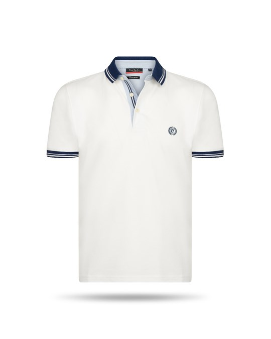 Pierre Cardin Pierre Cardin Navy Tipped Polo Weiss