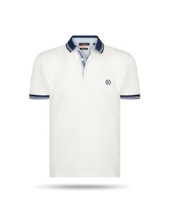 Pierre Cardin Navy Tipped Polo Weiss
