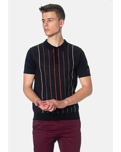 Stirling, Contrast Pinstripes Knitted Men's Polo Shirt