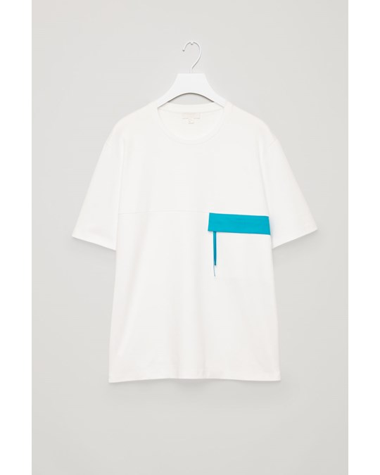 COS Flap Pocket Jersey Top White