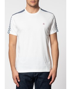 Hillgate, Ska Print T-shirt With Short Sleeves And Round Neck Collar In Off White