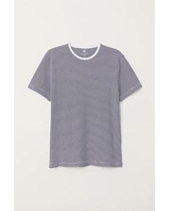 Rundhalsad T-shirt Slim Fit Mörkblå/vitrandig