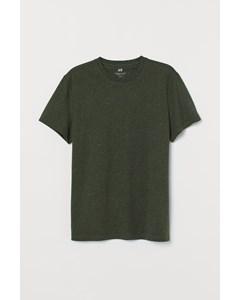 Rundhalsad T-shirt Regular Fit Mörk Khakigrön/neps
