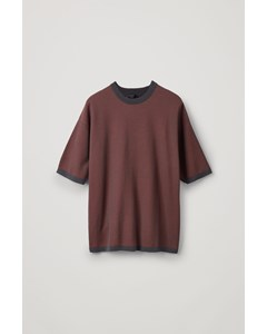 Oversized Knitted T-shirt Brown