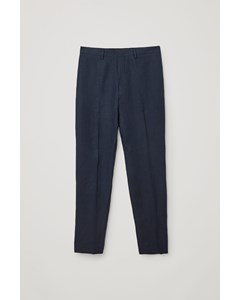 Linen Slim Leg Trousers Navy