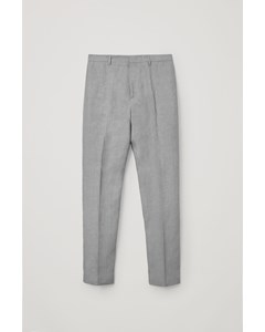 Linen Slim Leg Trousers Grey