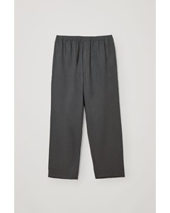Lyocell-linen Mix Wide Leg Trousers Grey