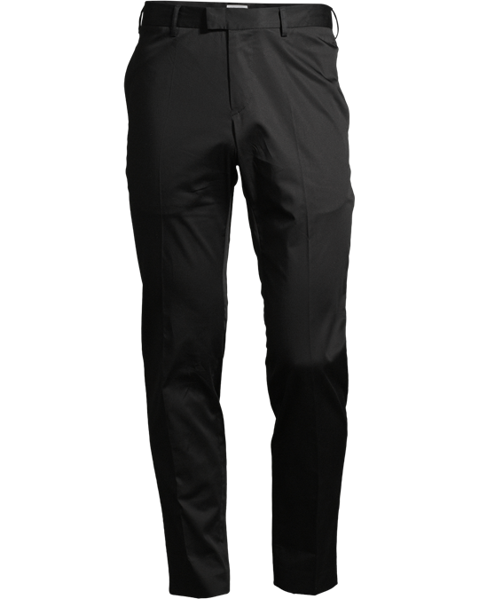 M. Liam Sharp Chino Black - Cotton sateen chinos. The smart casual Liam model features a classic waistband and crease marks. Two side pockets and tw o rear pockets.