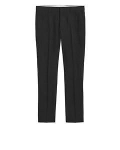 Wool Cotton Trousers Black