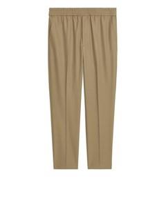 Wool Blend Drawstring Trousers Beige