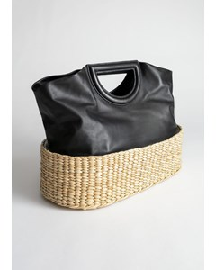 Deby läder- och stråväska i tote bag-modell svart