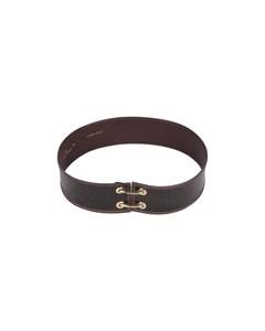 Valentino Garavani Vintage Brown Embossed Leather Waist Belt Size 70