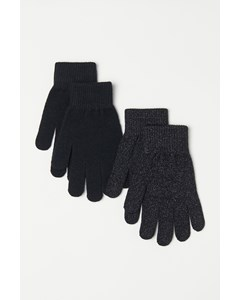 Fijn gebreide handschoenen 2-pack metallic