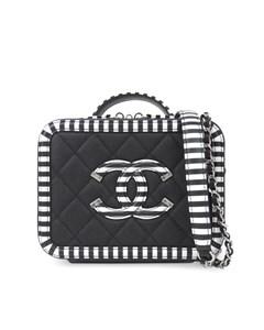 Chanel Caviar Cc Filigree Vanity Case Black
