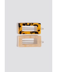 Double Pack Chunky Squared Hairclips Tortoise