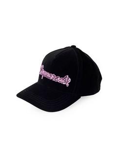 Dsquared2 Black Velvet Pink Sequins Baseball Cap