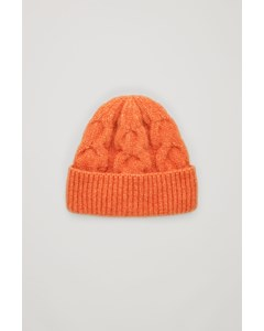 Alpaca-yak Wool Mix Cable Hat Orange